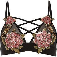 Black sequin floral applique bra