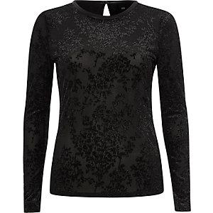 Black glitter burnout velvet fitted top