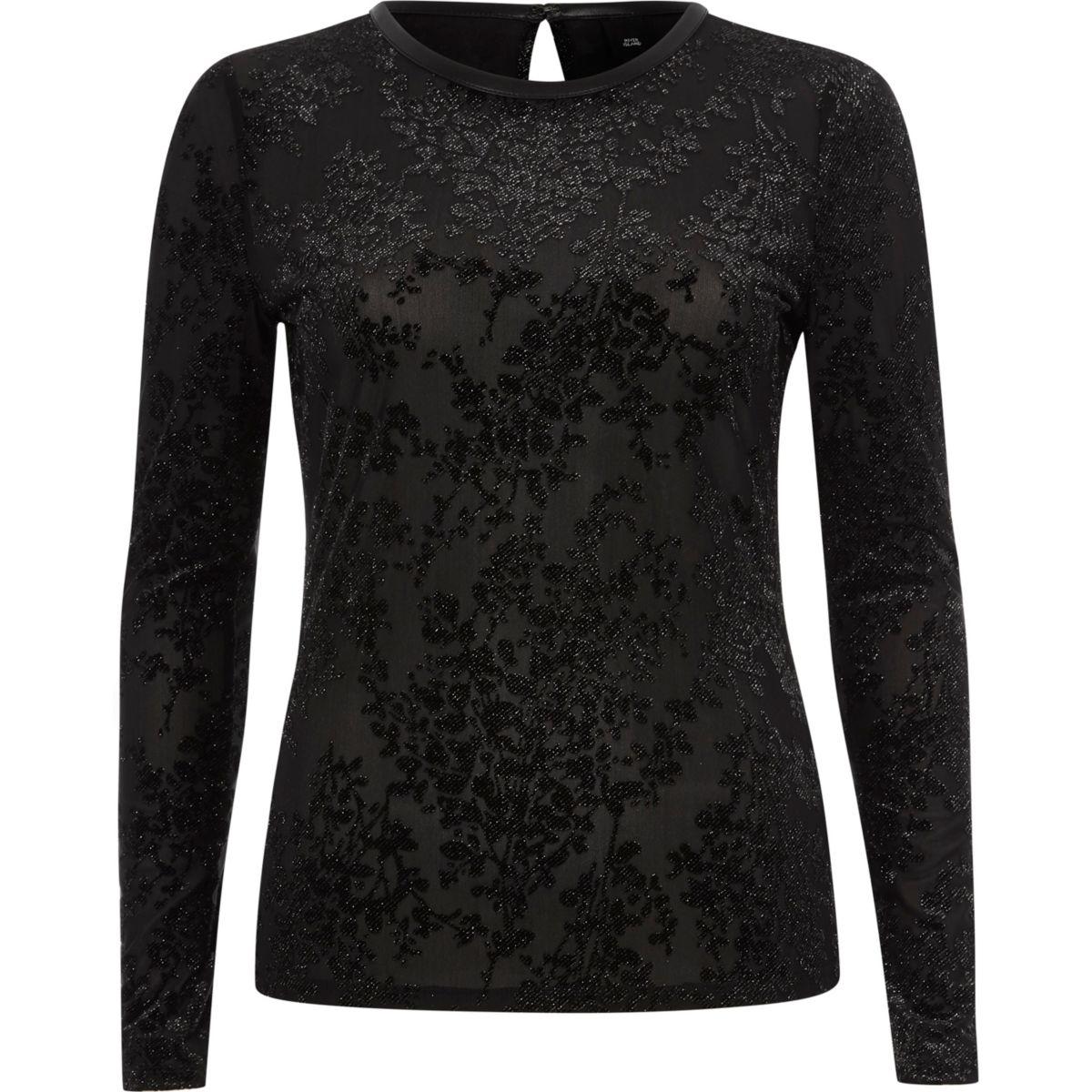 Zwarte aansluitende fluwelen top met glitter en burnout-print