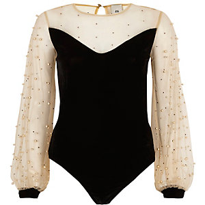 Black velvet and mesh pearl bodysuit