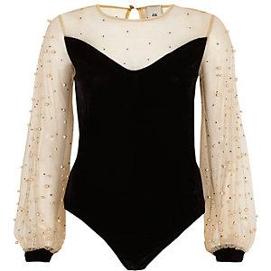 Black velvet and mesh pearl bodysuit