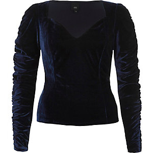 Dark blue velvet sweetheart ruched sleeve top