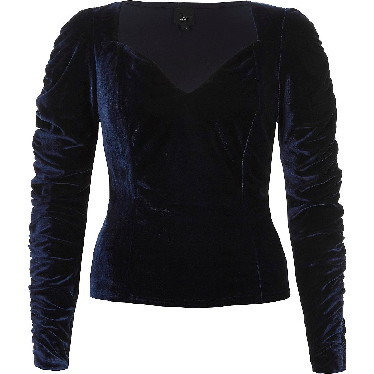 Dark blue velvet sweetheart ruched sleeve top