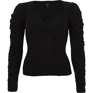 Black velvet sweetheart ruched sleeve top
