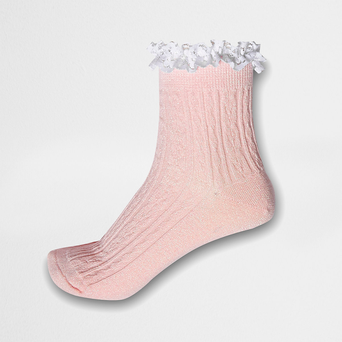 Pink glitter cable knit frill ankle socks