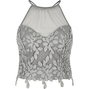 Silver floral mesh insert high neck bralette