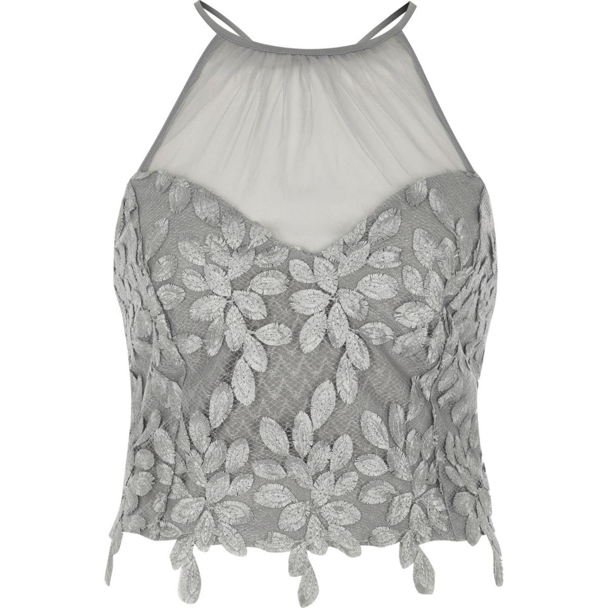 Silver floral mesh insert high neck bralet