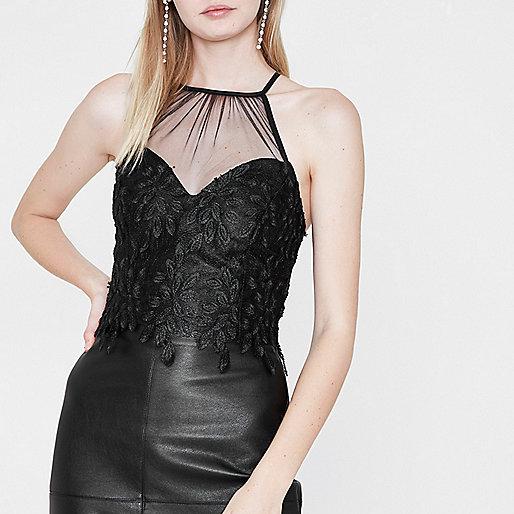 Black floral mesh insert high neck bralet