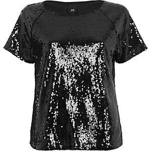 T-Shirt mit Paillettenverzierung in Schwarz-Metallic
