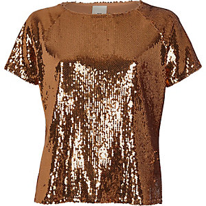 Copper sequin embellished T-shirt
