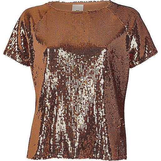Copper sequin embellished T-shirt