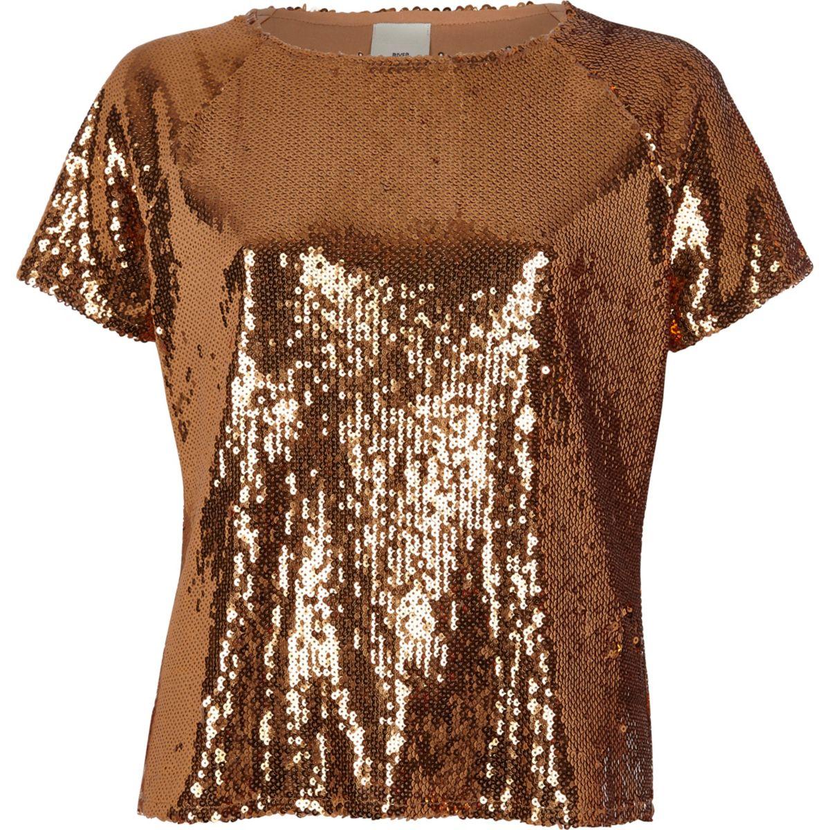 Paillettenverziertes T-Shirt in Kupfer