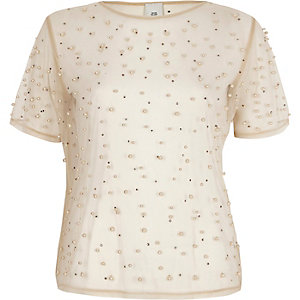 Beige mesh faux pearl embellished T-shirt
