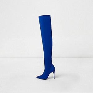 Blaue, spitze Overknee-Stiefel