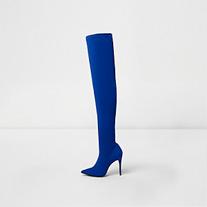 Blauwe scuba over-de-knie-laarzen met puntige neus