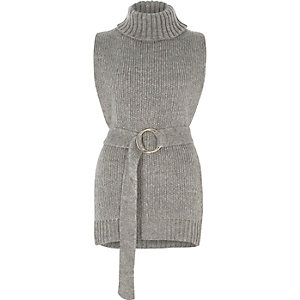Grey roll neck sleeveless open side knit top