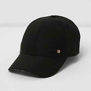 Black tencel baseball cap