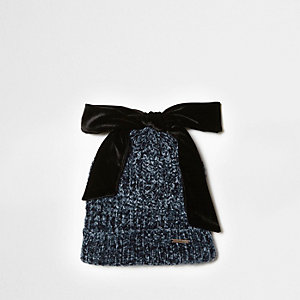 Navy chenille knit bow top beanie hat