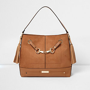 Tan snaffle front underarm slouch bag
