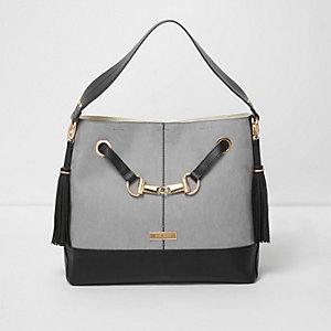 Grey snaffle front underarm slouch bag
