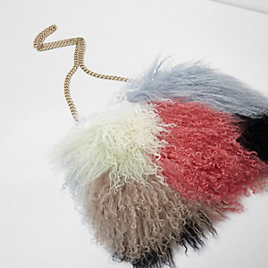 Blue multi colour mongolian fur chain bag