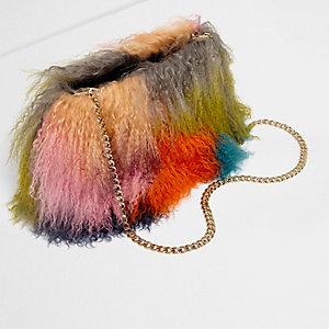 Mehrfarbige Tasche aus Tibet-Lammfell