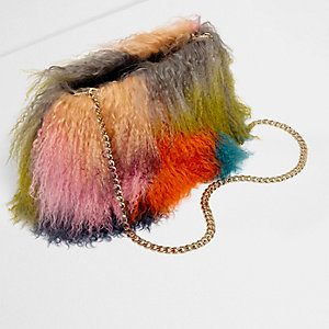 Orange multi colour mongolian fur chain bag