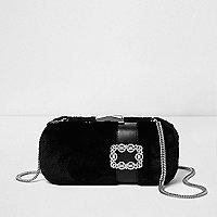 Black faux fur box jewel clutch bag