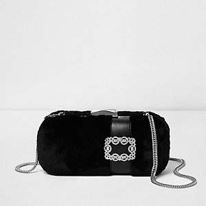 Black faux fur box jewel clutch bag