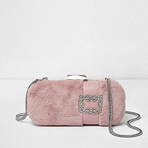 Roze rechte handtas van imitatiebont met juwelen