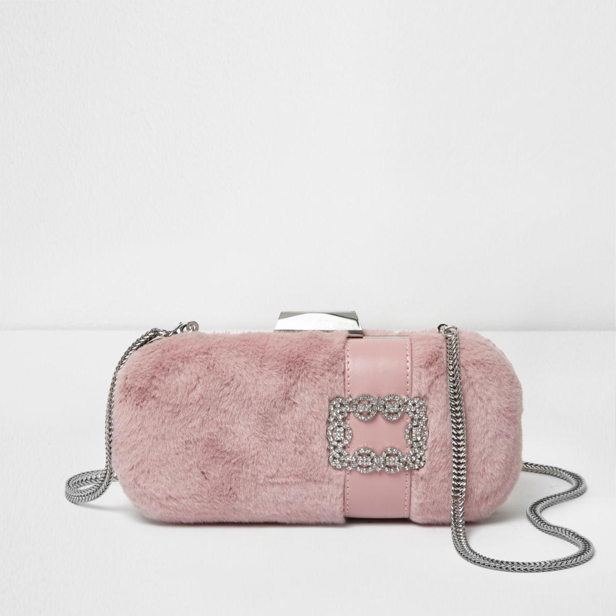 Pink faux fur jewel box clutch bag