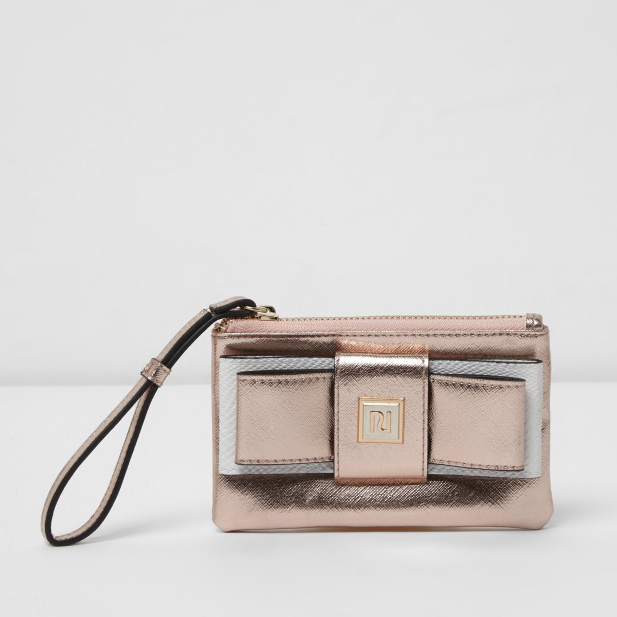 Gold metallic bow front mini purse