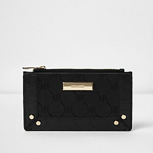 Black RI embossed slim purse