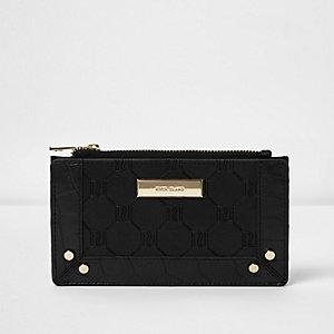 Zwarte smalle portemonnee met RI in reliëf