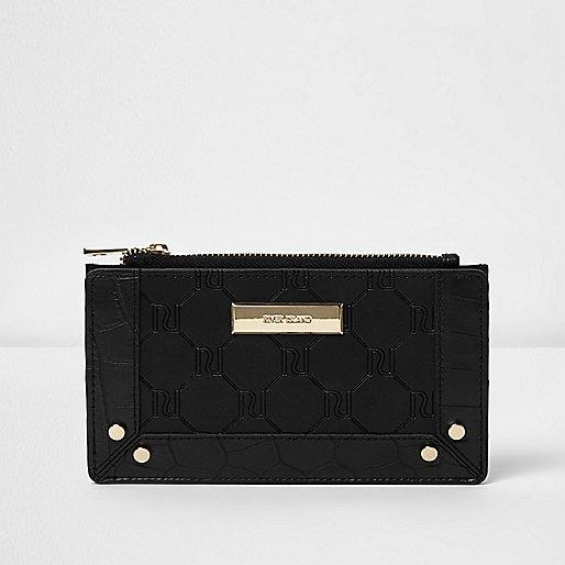 Black RI embossed slim purse