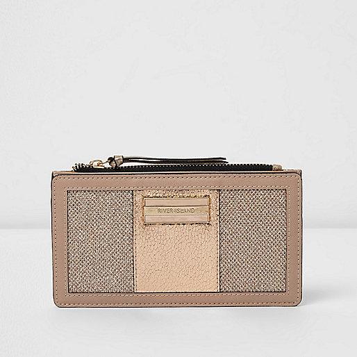 Gold slim panelled purse
