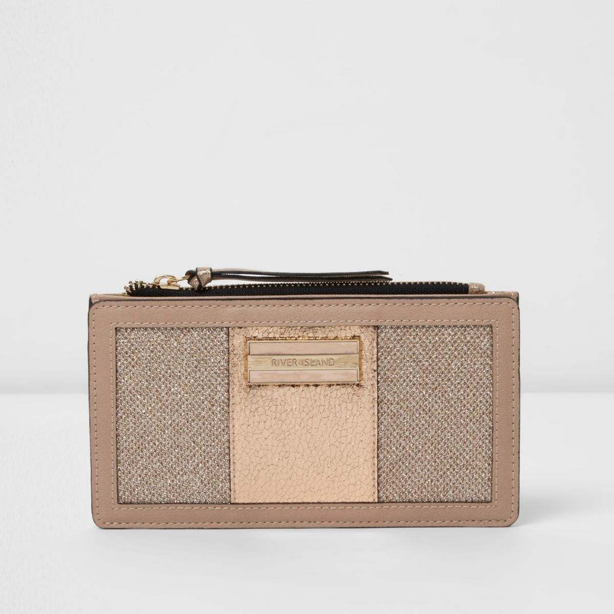 Gold slim panelled purse