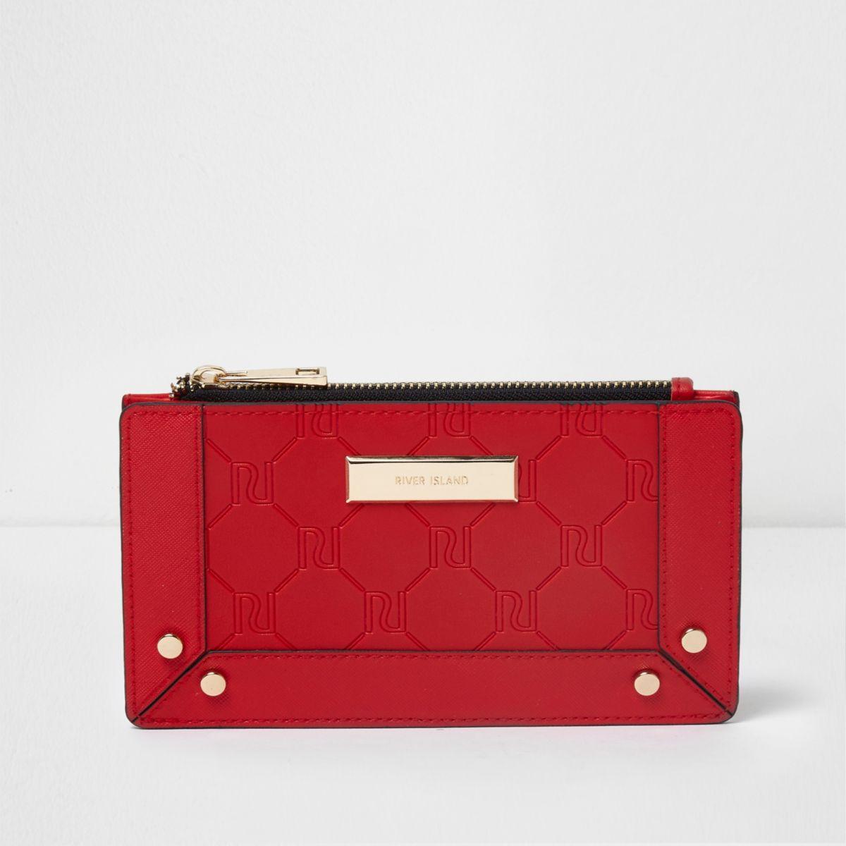 Red embossed slim purse