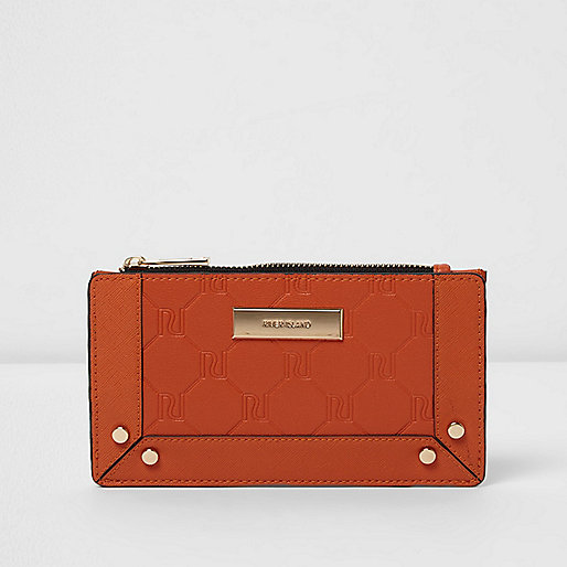 Orange RI embossed slim purse