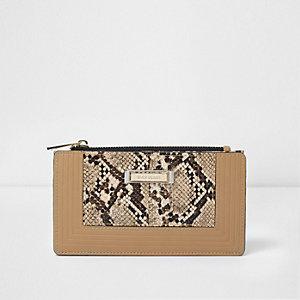 Beige snakeskin slim foldout purse