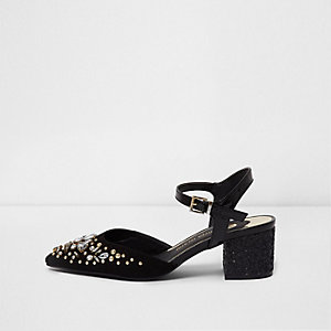 Black pointed toe diamante block heel sandals