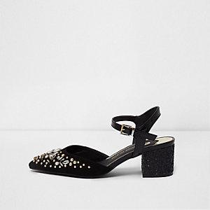 Zwarte sandalen met puntige neus, blokhak en stras