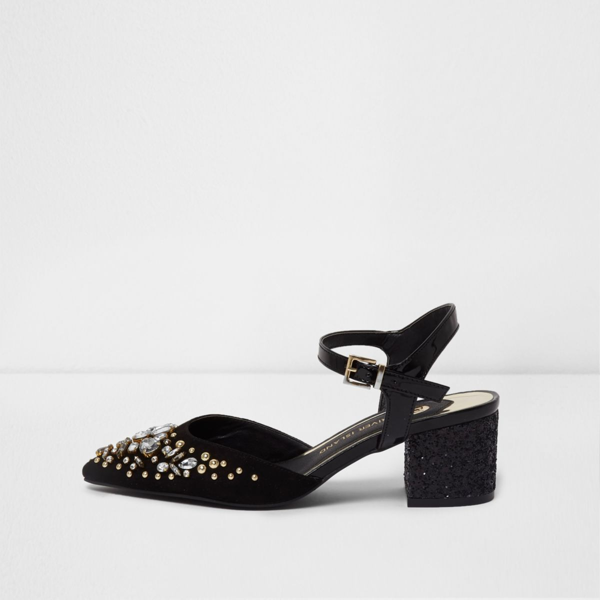 Black embellished pointed block heel sandals