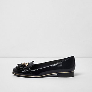 Black wide fit tassel slippers