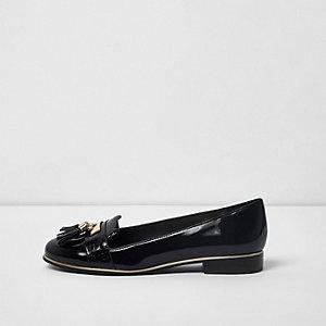 Chaussons noirs à pampilles coupe large