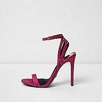 Roze minimalistische sandalen met glitter