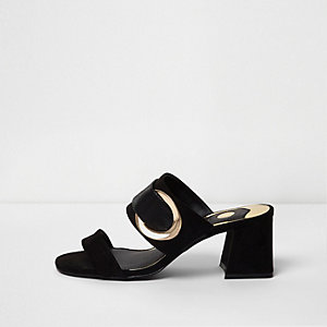Black double strap block heel mules