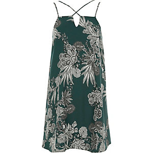 Green paisley print cross strap slip dress