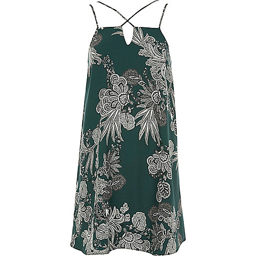 Green paisley print cross strap slip dress