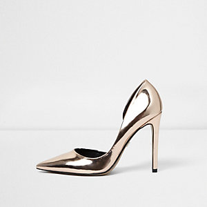 Gold wide fit metallic pumps